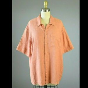 Flax By Jeanne Engelhart Linen Orange Pocket Top
